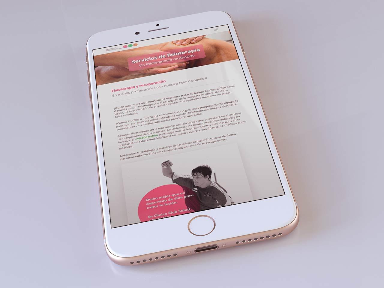 Nueva web Club Salud 24h en móviles
