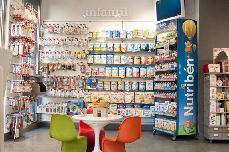 Seccion de alimentacion y cuidado infantil en farmacia 24 h Benimaclet