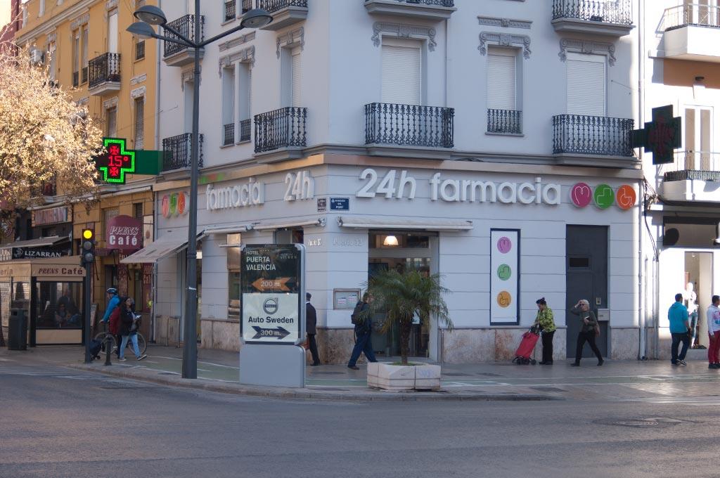 Farmacia 24 horas en Valencia Av Puerto con Cardenal Benlloch